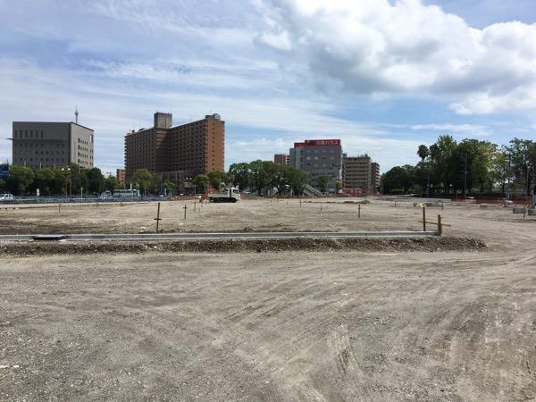旧市立病院、西郷どんドラマ館跡にできる加治屋まちの杜公園・国際交流センターの工事が進んでる